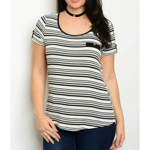 Tops - Cute Striped Tee + Stretch with Button Detail